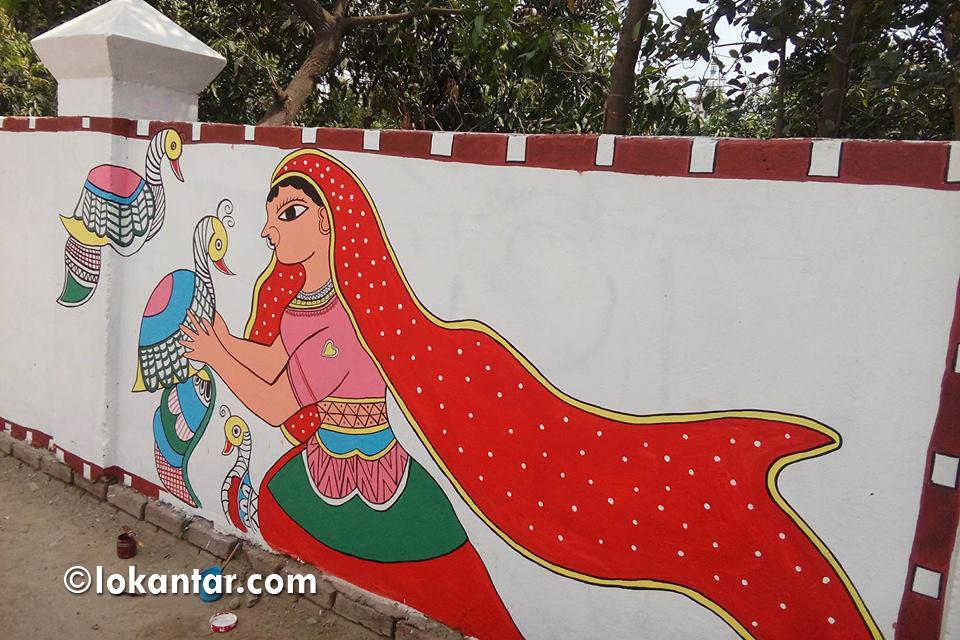 मोदीलाई भव्य स्वागत गर्ने तयारीमा जनकपुर, यसरी रंग्याइँदैछ पर्खालहरू [फोटोफिचर]