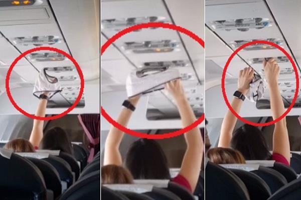 महिलाले उडानकै क्रममा एयर कन्डिस्नरमा अन्डरवेयर सुकाएपछि ... (भिडियो)
