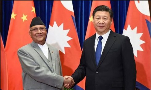 नेपालका प्रधानमन्त्री केपी शर्मा ओली र चिनियाँ राष्ट्रपति शी