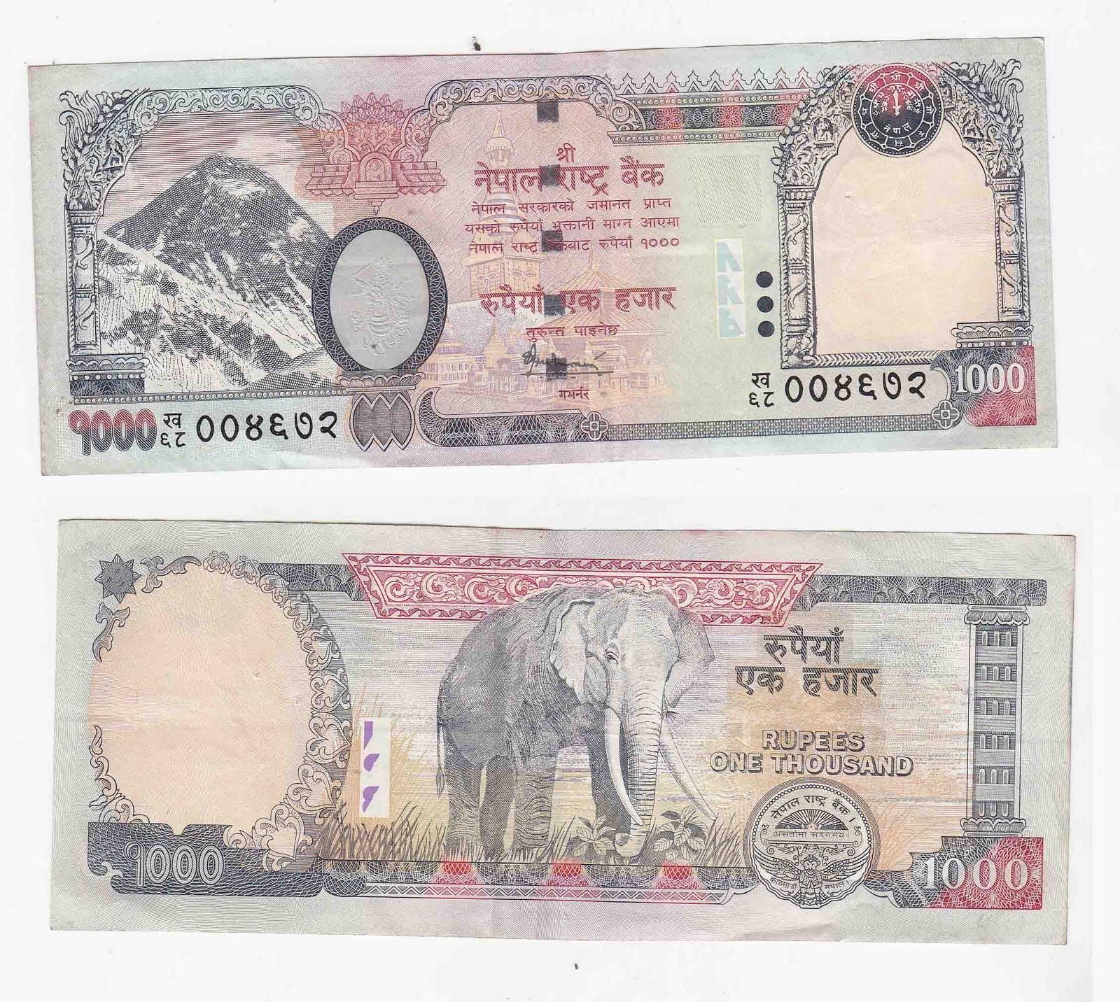1000 rupee - nepal