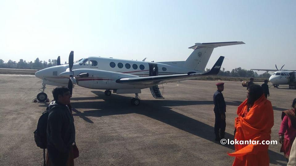 योगी आउने भारतीय विमानको 'टेस्ट फ्लाइट', केहीबेर जनकपुर विमानस्थलमा बसेर फिर्ता