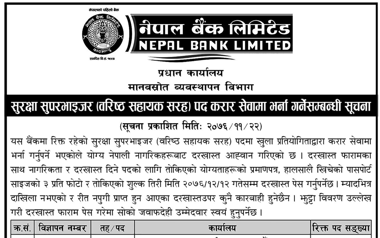 नेपाल बैंकले माग्यो कर्मचारी [हेर्नुहोस् सूचना]