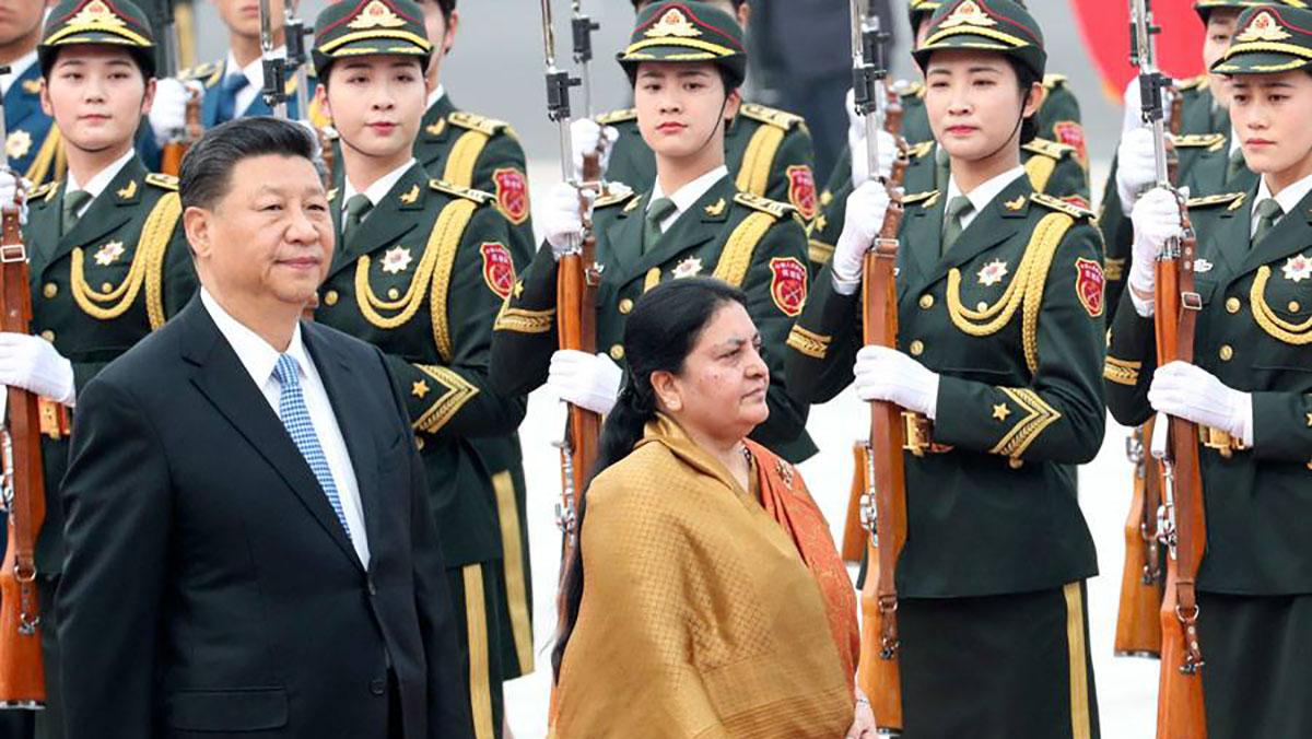 चीन भ्रमणका क्रममा समकक्षी शी चिनफिङसँग राष्ट्रपति विद्यादेवी भण्डारी