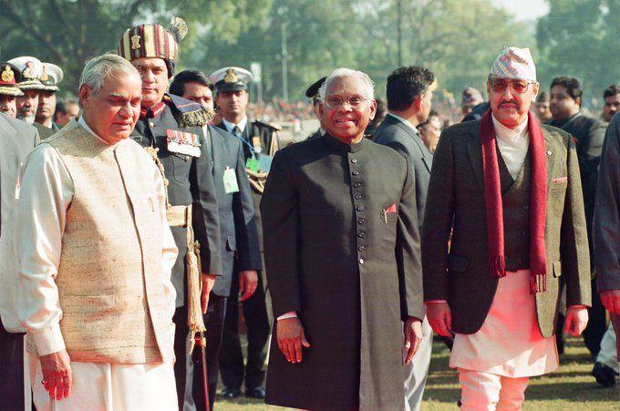 भारतीय गणतन्त्र दिवसमा सहभागी राजा वीरेन्द्र । तस्वीर : भारतीय पूर्वराष्ट्रपति प्रणव मुखर्जीको ट्विटरबाट
