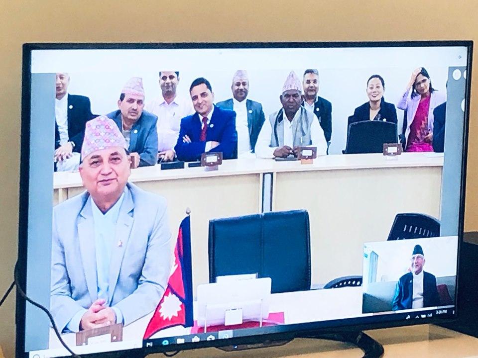 सिंगापुर–काठमाडौं : भिडियो कन्फरेन्सबाट नेपाल सरकारको मन्त्रिपरिषद् बैठक