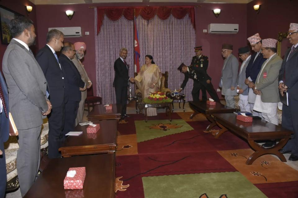 जयशंकरले भेटे राष्ट्रपति भण्डारीलाई