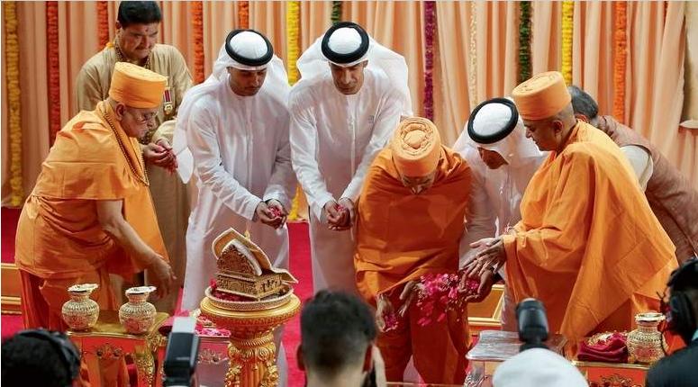 यूएईमा पहिलो हिन्दू मन्दिरको शिलान्यास, सयौं मानिस सहभागी