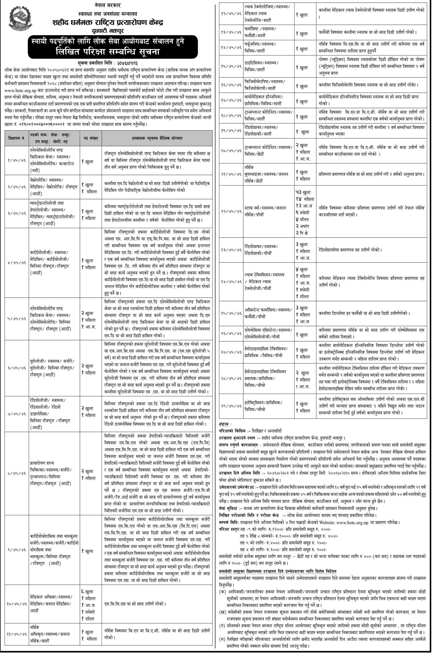 शहीद धर्मभक्त राष्ट्रिय प्रत्यारोपण केन्द्रले माग्यो विभिन्न २९ पदमा स्थायी कर्मचारी (सूचनासहित)