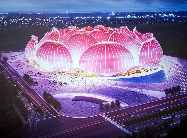 कमल आकारमा विश्वकै सबभन्दा ठूलो फूटबल स्टेडियम बनाउँदै चीन