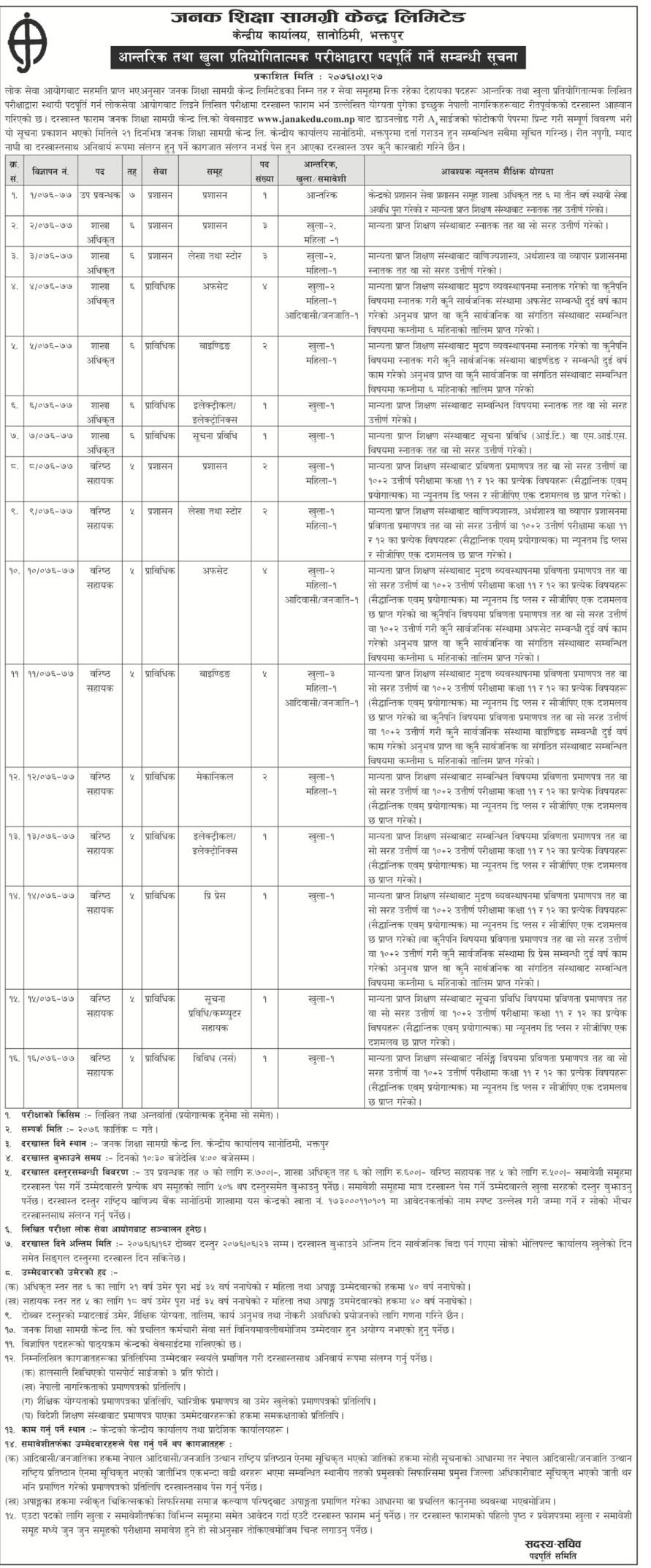 जनक शिक्षाले माग्यो विभिन्न पदमा ३४ कर्मचारी (विज्ञापनसहित)